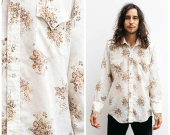Vintage 70s Western Shirt / Floral Print/ Pearl Snaps / Size L