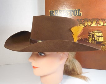 Vintage Resistol Stagecoach Cowboy Hat Size 7 Brown Self Conforming Brown Faux Leather Trim Silver Medallions Feathers Oval Long Hat Box