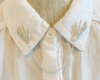 Skeleton Hands Collar Clips [sweater clips pins collar chain brooches]