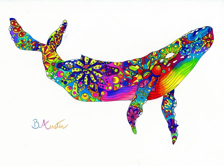 Colorful Humback Whale Art Print Rainbow Humback Whale Wall
