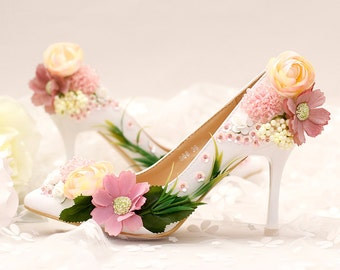 Women Bling Rhinestone Flower Bridal Shoes/Heels Crystals Pumps/Custom Shoes/Party & Evening