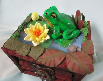 Jewelry box Frog figurine Handmade Lotos Flower box Polymer clay box Colorful box Unique gift for lovely person Wood Jewelry box