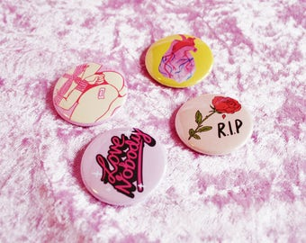 LOVE NOBODY Buttons (selection)
