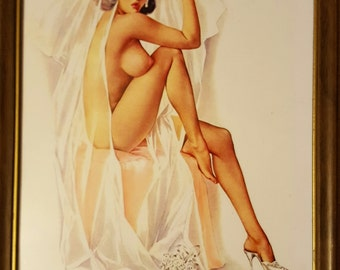 "Alberto Vargas Pin Up Print Framed ""Give Away the Bride"" 8"" x 10"""
