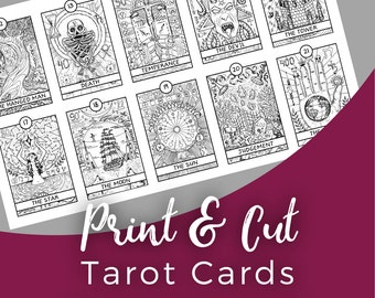Printable tarot stickers | 144 planner stickers major and minor arcana for print and cut on a Silhouette Cameo Portrait | Happy Planner Erin
