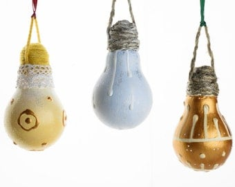 Baubles made with light bulbs