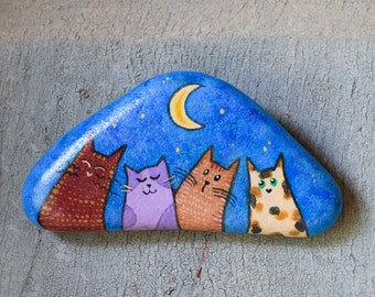 Hand-painted stone to hang with cats