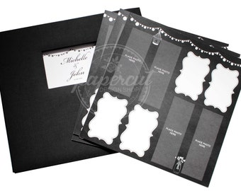 Photo Booth Album Scrapbook Guestbook Set with Black Cloth Album and Rustic Chalkboard Design Pages - Personalized Front Window