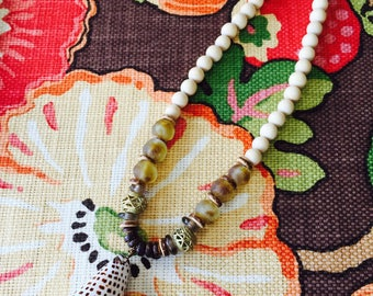 BOHO • Conch Shell Necklace with Recycled Glass Beads || Lt Tan Wood Bead Necklace || Blue || Black  || Brown Neutral