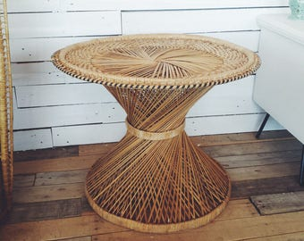 Wide Tapered Boho Side Table