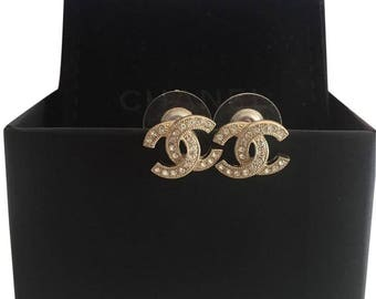 Chanel classic CC logo earrings with crystals gold tone