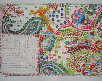 Indian New Cotton Kantha Quilt Twin Size Bedsheet Beautiful Handmade Paisley Design Bedspread Throw Indian White Floral Bedcover