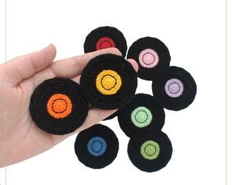 Crochet applique vinyl record (set of 6), vinyl record to the scrap and decor