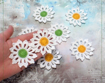 Crochet applique Camomiles, crochet chamomile, chamomile for scrapbooking, crochet flowers (set of 6)
