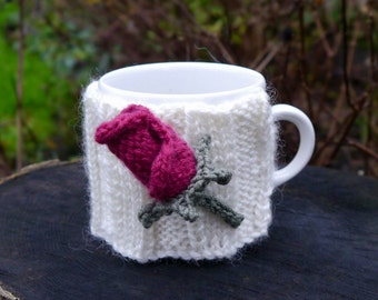 Hand Knitted Rose Mug Cosy, Cup Cozy