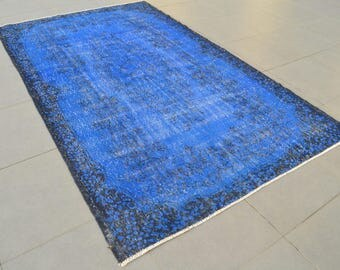 BLUE Overdyed Rug Bohemian Handmade Antique Turkish Handwoven Carpet ROYAL