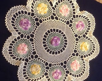 "Large 24"" Vintage Crocheted Flower Doily"