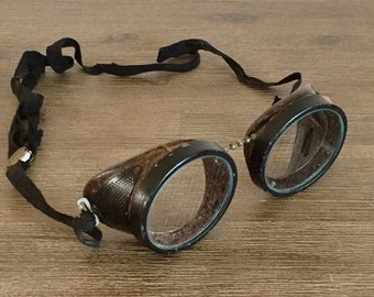 Antique Safety Goggles; Vintage Goggles; Sager Safety Safeguard Goggles; Riding Glasses; Steampunk Goggles; Motorcycle Safety Glasses