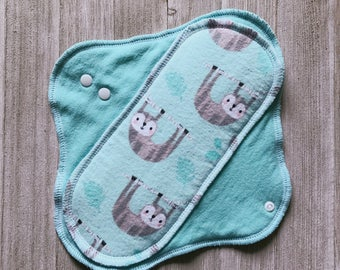 Sloth and Mint Cotton Flannel Mama Cloth Reusable Menstrual Pad
