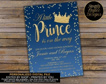 A little Prince Is On The Way Baby Shower Invitation