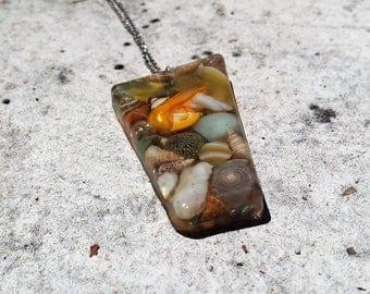 Precious Stone Resin Pendant Necklace