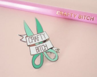 CRAFTY B*TCH hard enamel pin | Lapel pin | Cute mint scissors