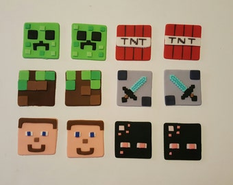 Minecraft inspired cupcake toppers edible fondant