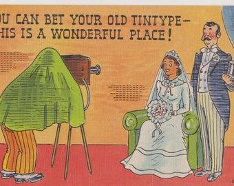 Vintage Comic Postcard, Linen Postcard, Bride and Groom, Unused