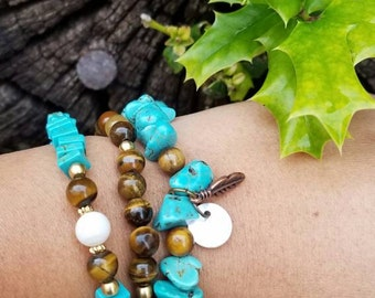 Turquoise Tigers Eye Feather charm 3 piece Bracelet set