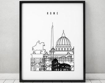 Rome art print, poster, skyline, minimalist black & white wall art, Italy cityscape, travel, city prints, Gift, Home Decor ArtPrintsVicky.