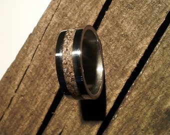 Titanium Ring with Dinosaur Fossil, Wedding Ring, Engagement, Dinosaur Ring, with Engraving