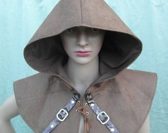 Brown faux suede cowl with buckle detail