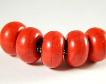 5x Large Hole Spacer Bead -  Red Howlite Turquoise - No Core - 5mm Hole - Red Howlite -  Large Hole Spacer - Leather Supplies