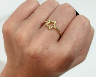 18K Gold Plated Ring, Star Ring, Minimalist Small Ring, Simple Tiny Midi Ring, Everyday Stacking Ring, Feminine Women Girl Ring (61)