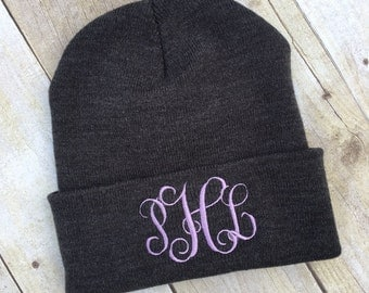 Monogram Knit Hat | Monogram Winter Hat | Monogram Beanie | Monogram Hat | Monogram Skull Cap