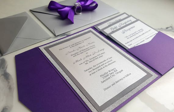 like this item - Purple And Silver Wedding Invitations