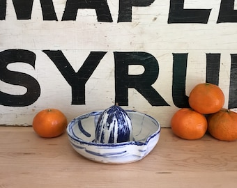 Ceramic Citrus Juicer, Handmade Pottery | Cocktails | Blue and White | Lemon Squeezer