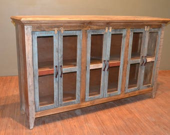 Rustic Solid Reclaimed wood Console / China Cabinet / Bookcase / Sideboard