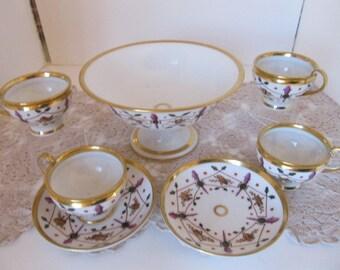Antique Ceramic FOOTED PUNCH BOWL set (7 pcs.)
