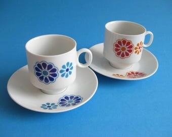 2 Vintage Espresso Cups and Saucer  german porcelain by Winterling Flower Power  Blue Red Orange