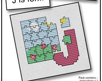 J is For... Jigsaw Mini Alphabet Cross Stitch Kit with DMC Thread, 5x5 cm
