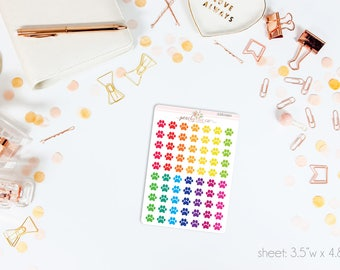 MINI Paw Print Stickers Bright Colors // 70 Matte Planner Stickers // Perfect for ECLP, A5, Personal, Filo, or any planner // AM0190