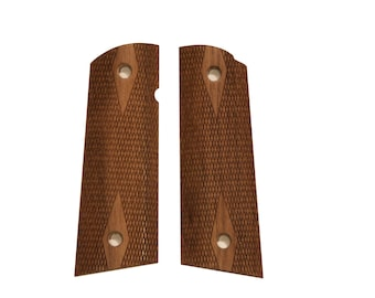 Triceratops Customs Full Size Magwell Flat Top Checkered Walnut 1911 Grips