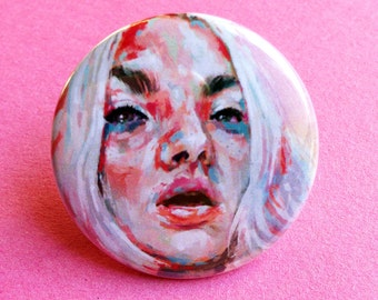 Pink & Tonic Pinback Button Badge / Brooch 1.5 Inch (38mm) Illustrated Painted Badge