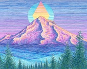 Mt Hood Sunset 8x10 Archival Print - Colorful Mountain Art Giclee - Mount Hood Portland, Oregon Landscape Drawing