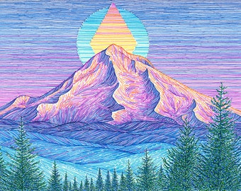 Mt Hood Sunset 8x10 Archival Print - Colorful Mountain Art Giclee - Mount Hood Portland, Oregon Landscape Drawing