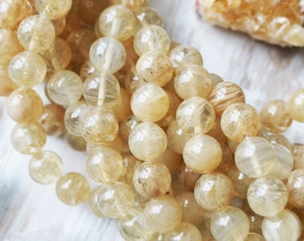 12mm Beads, Cherry Quartz Beads, Yellow Beads, Large 12mm Round Beads, Light Yellow Beads, Transparent Beads,