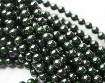 6mm Green Beads, Green Goldstone, 6mm Gemstone Beads, 6mm Round Beads, 6mm Sparkly Beads, 6mm Dark Green, Dark Green Gemstone, Green Bead,