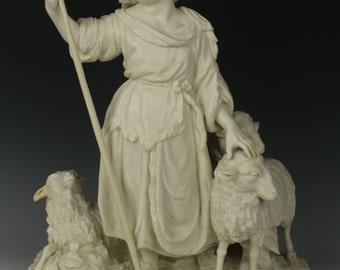 "Antique parian figurine ""The Good Shepherd"""