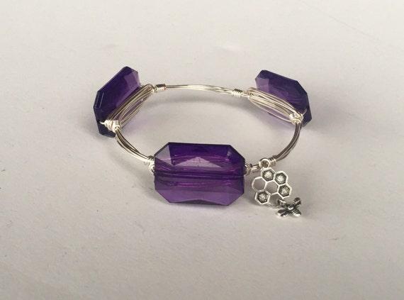 Clearance Sale, Purple bangle, Purple bangle bracelet, Wire wrapped bangle, handmade bangle, bridesmaid gift, February birthstone